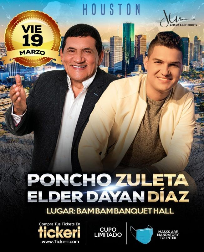 Flyer for Poncho Zuleta y Elder Dayan Diaz en Houston