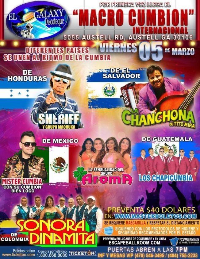 Flyer for El Sheriff, La Chanchona de Tito Mira, Grupo Aroma, Sonora Dinamita, Los Chapicumbia y Mr. Cumbia en Vivo!