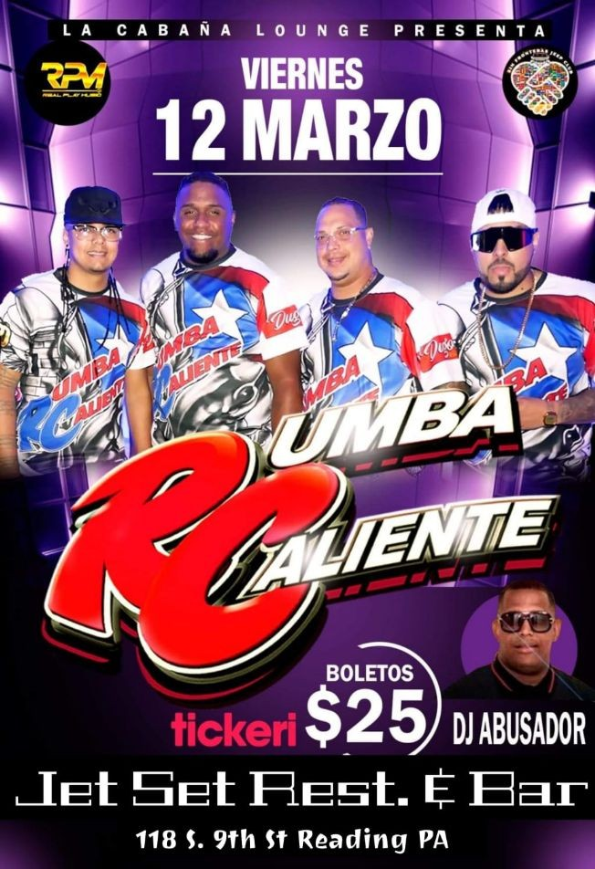 Flyer for Rumba Caliente @ JETSET REST. READING PA