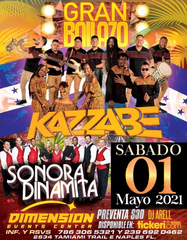 Flyer for Gran Bailazo con Kazzabe y Sonora Dinamita en Vivo!