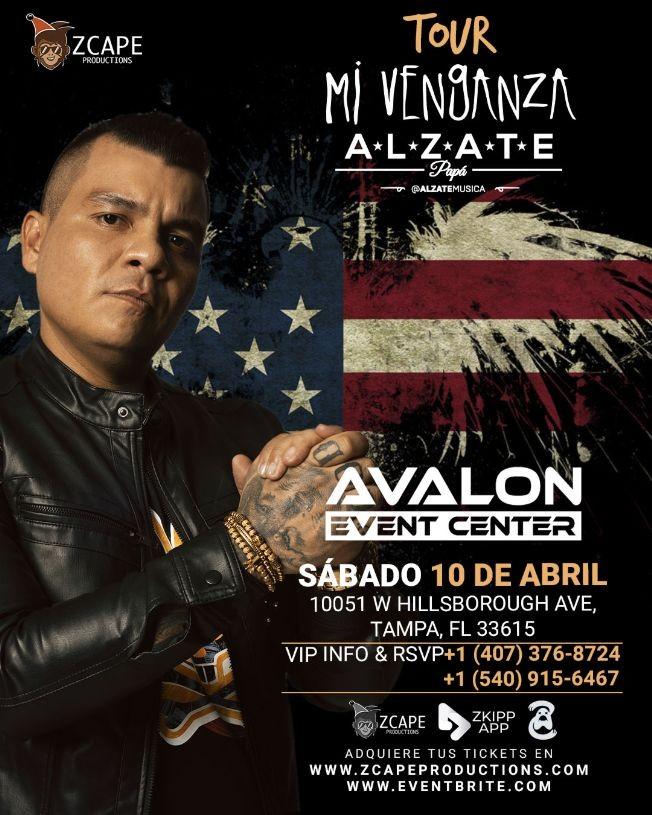 "Flyer for ALZATE EN TAMPA ""MI VENGANZA TOUR"""