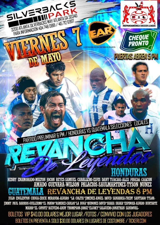 Flyer for Juego De Leyendas Guatemala VS Honduras  En Atlanta, GA