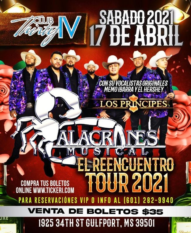 Flyer for El Reencuentro Tour 2021: Los Principes Alacranes Musical en Vivo !