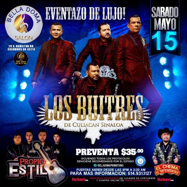 Flyer for Los Buitres de Culiacan Sinaloa, Las Cumbiamberas Liz y Liz y El Chema en Vivo!