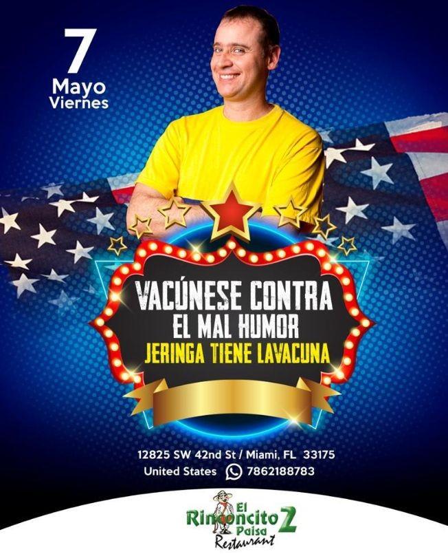 Flyer for Vacunese contra el Mal Humor, Jeringa Tiene la Vacuna