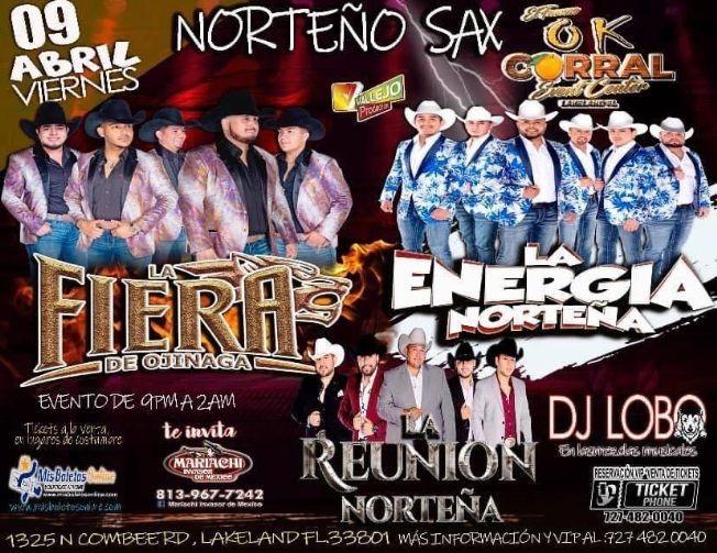 Flyer for Norteño Sax junto a La Energia Norteña, La Fiera de Ojinaga, La Reunion Norteña