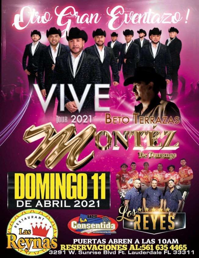 Flyer for Otro Gran Eventazo! Vive Tour 2021! Beto Terrazas, Montez de Durango y Los Reyes!