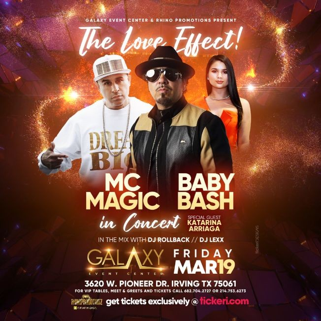 Flyer for The Love Effect with Baby Bash, MC Magic in Concert with special guest Katarina Arriaga!