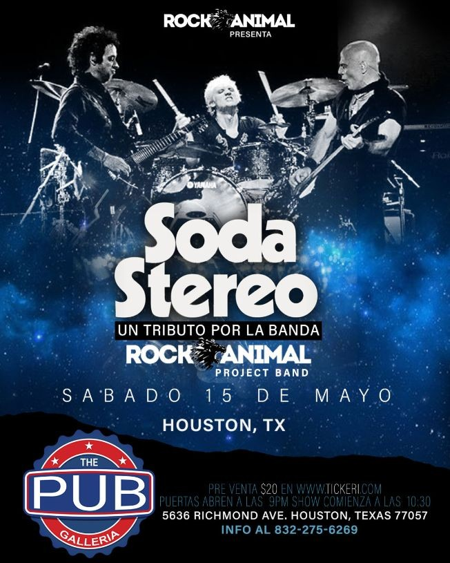 Flyer for Tributo a Soda Stereo - Houston, Tx