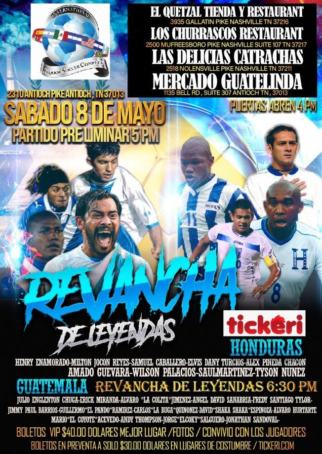 Flyer for Juego de Leyendas en Nashville: Futbol en Vivo Honduras vs Guatemala!