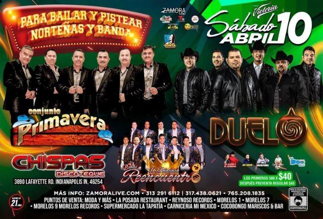 Flyer for Conjunto Primavera, Duelo y Banda Reencuentro en Vivo!
