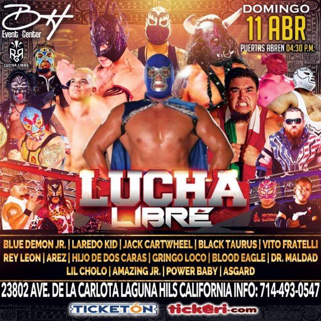 Flyer for Lucha Libre! Blue Demon Jr, Laredo Kid, Jack Cartwheel, Black Taurus, Vito Fratelly y muchos mas!