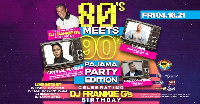 Flyer for 80's Meets 90's Pajama Party - Frankie G's Birthday Celebration