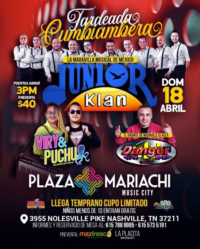 Flyer for Tardeada Cumbiambera con Junior Klan, Sonido Danger y Viry & Puchu en Vivo!