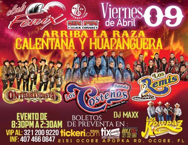 Flyer for Arriba la Raza Calentana y Huapanguera! En Vivo, Los Contrabandista, Banda Los Costeños, Los Remos y Los Kompaz de Mexico!