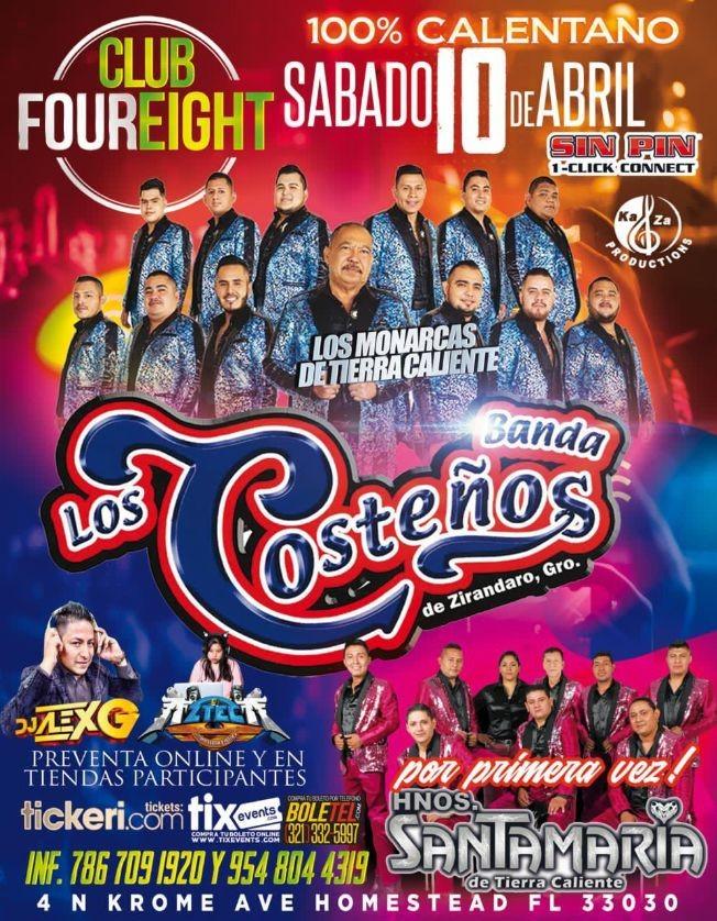 Flyer for 100% Calentano! En Vivo, Banda Los Costeños y por primera vez, Hnos. Santamaria de Tierra Caliente.
