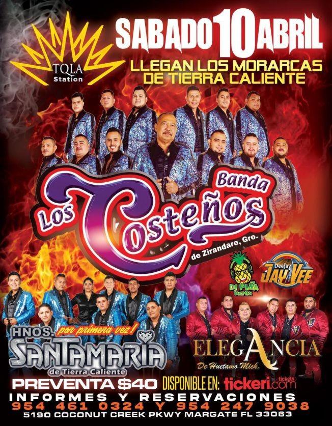 Flyer for En Vivo, Banda Los Costeños, primera vez, Hnos. Santamaria de Tierra Caliente, y Elegancia de Huetamo Mich.