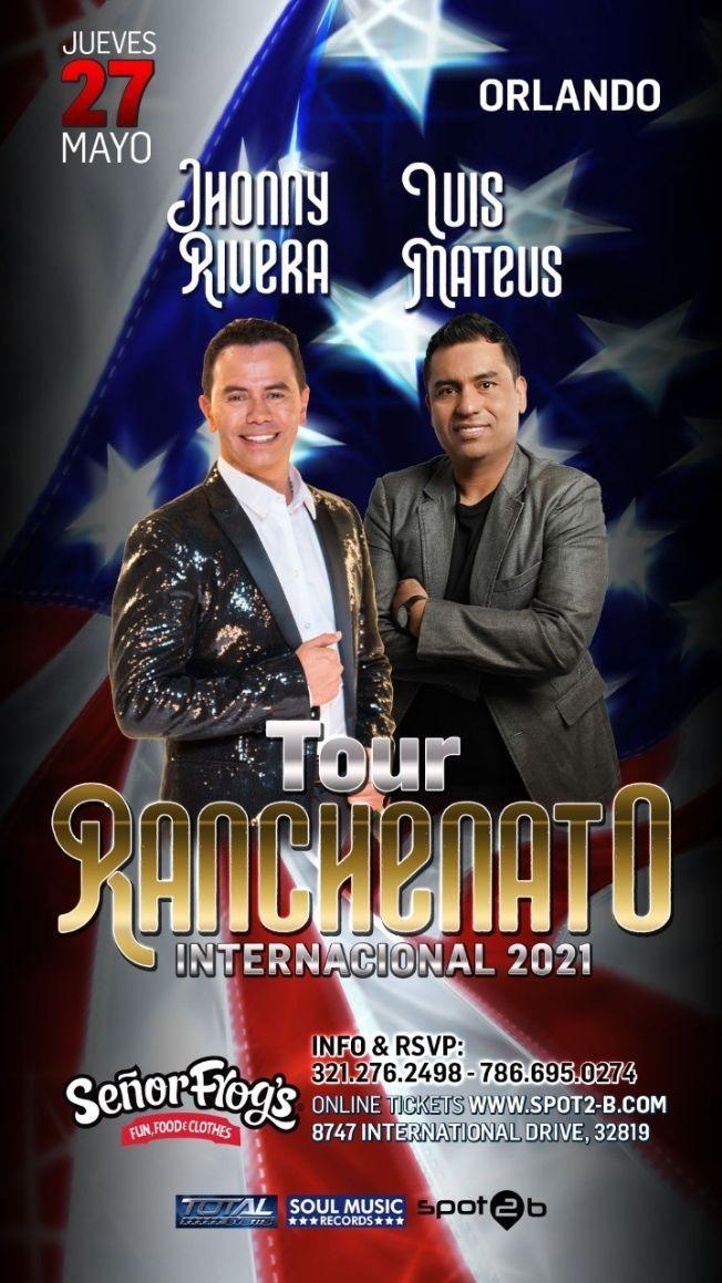 Flyer for 2NIGHT JHONNY RIVERA VS LUIS MATEUS RANCHENATO 2021 EN ORLANDO