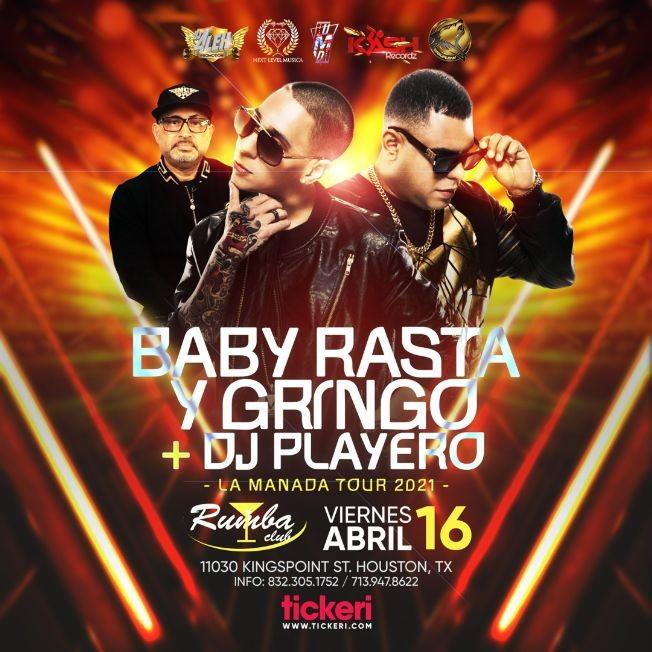 Flyer for Baby Rasta y Gringo + DJ Playero en Vivo! La Manada Tour 2021 Houston Texas
