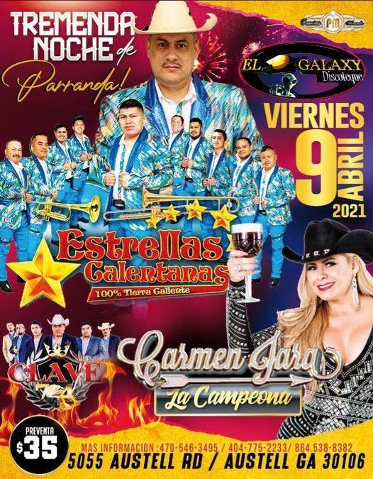 Flyer for Tremenda Noche de Parranda! Estrellas Calentanas, Carmen Jara y Clave en Vivo!
