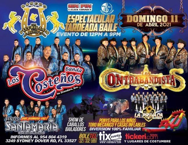 Flyer for Espectacular Tardeada Baile junto a La Banda Los Costeños, Los Contrabandistas, Hnos Santamaria de Tierra Caliente, Banda La privada y mas!