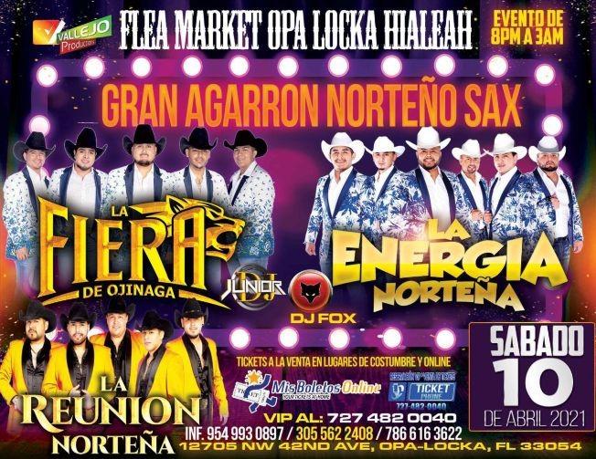 Flyer for Gran Agarron Norteño Sax junto a La Fiera de Ojinaga, La Energia Norteña y La Reunion Norteña.