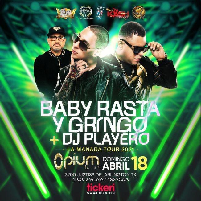 Flyer for Baby Rasta y Gringo + DJ Playero en Vivo! La Manada Tour 2021 Arlington Texas