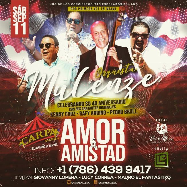 Flyer for Por primera vez en Miami, Orquestra Mulenze en Vivo!