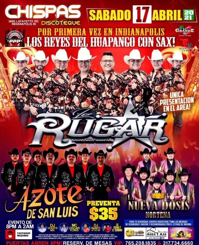Flyer for Los Rugar Hermanos Ruiz Garcia, Azote De San Luis y Nueva Dosis Norteña en Vivo!