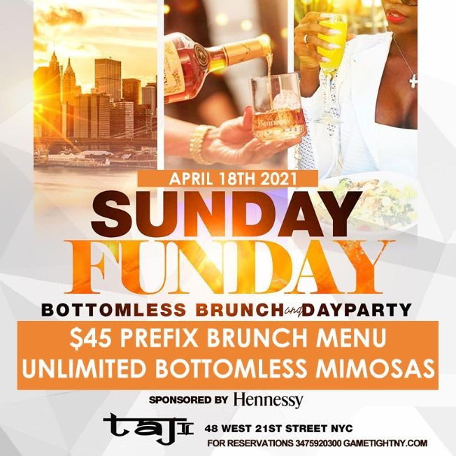 Flyer for R&B Sunday Bottomless Brunch & Day Party at Taj Lounge NYC 2021