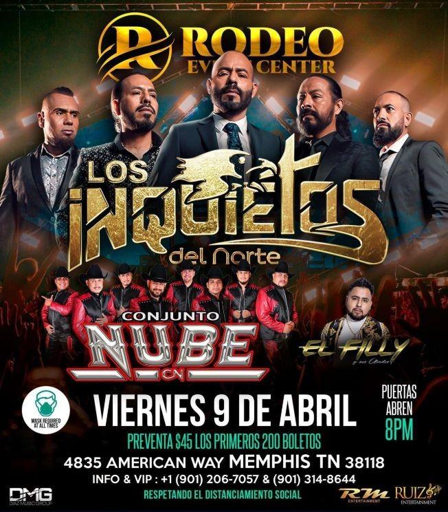 Flyer for Los Inquietos del Norte y Conjunto Nube en Vivo!