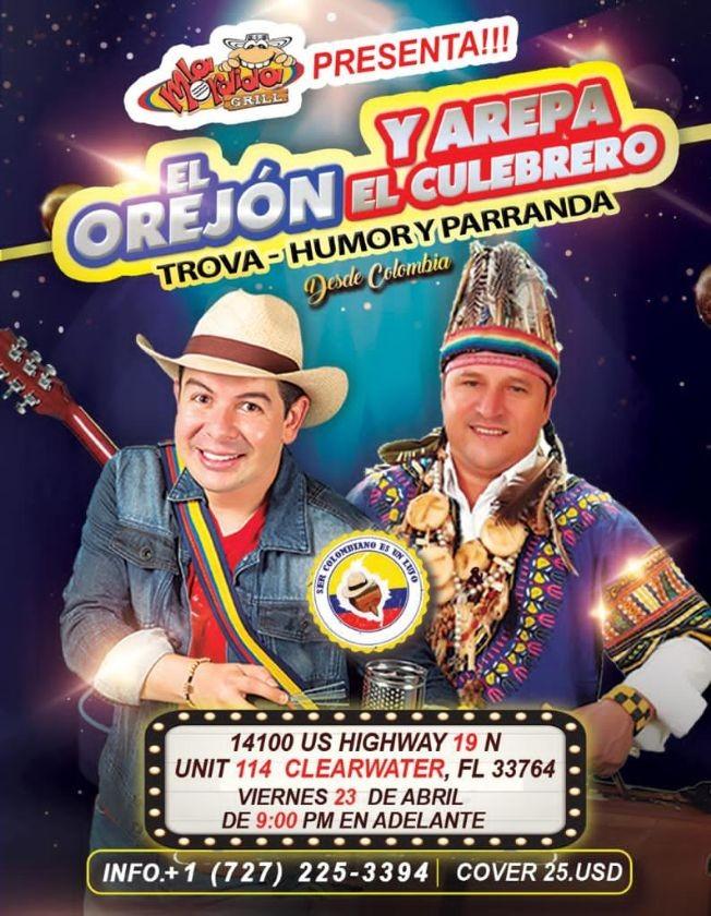 Flyer for El Orejon y Arepa El Culebrero