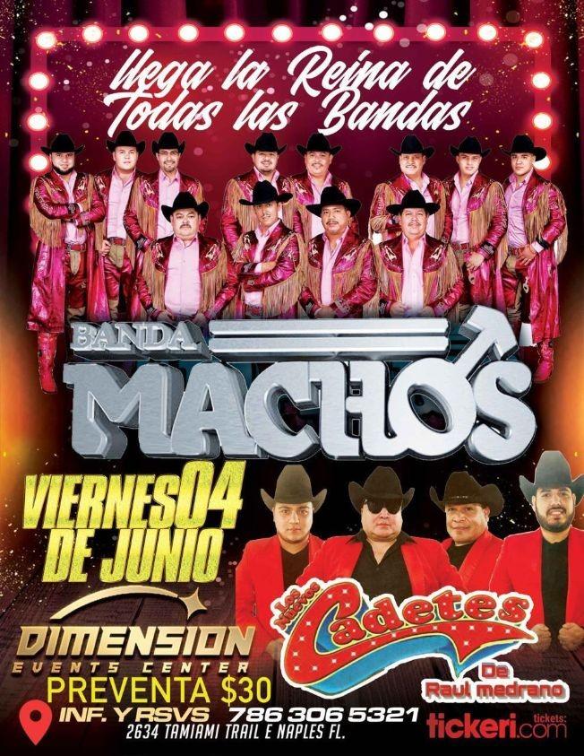 Flyer for Banda Machos y Los Nuevos Cadetes de Raul Medrano en Vivo!
