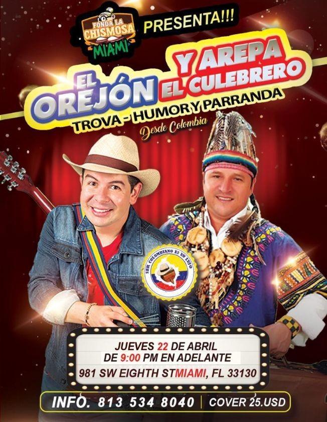 Flyer for El Orejon y Arepa El Culebrero en Vivo!