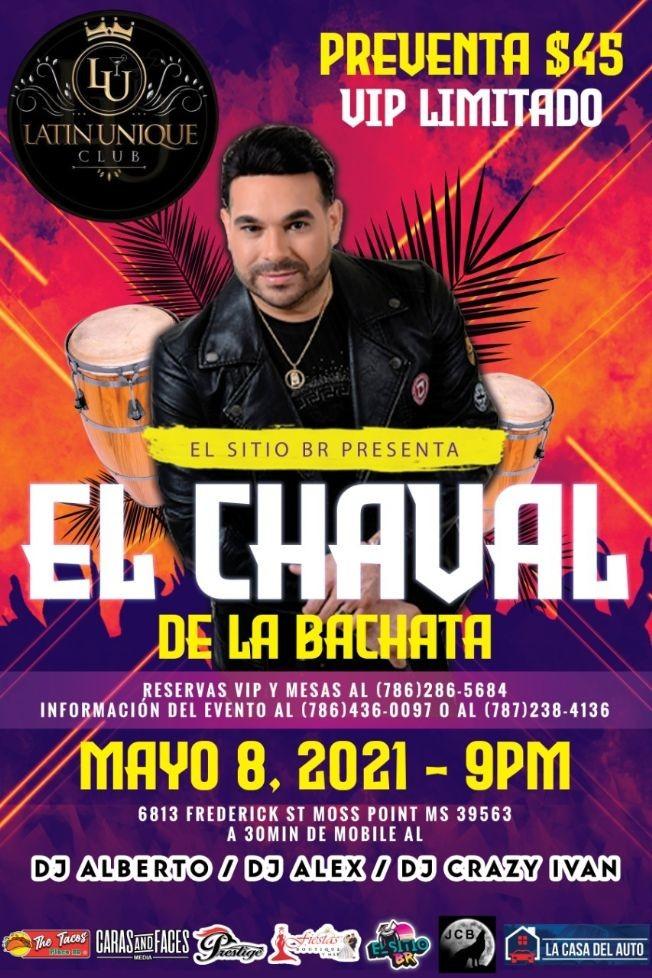 Flyer for El Chaval de la Bachata en Concierto!