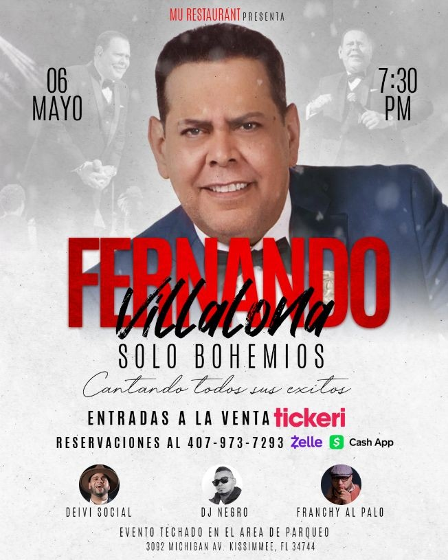 Flyer for Fernando Villalona - Solo en Bohemios - Cantando Todos Sus Exitos
