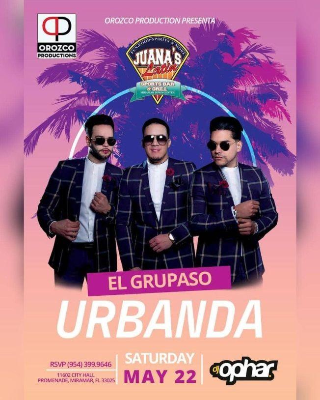 Flyer for URBANDA EN CONCIERTO EN JUANAS LATIN SPORTS BAR