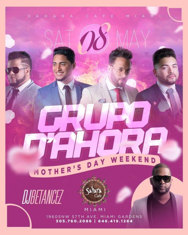 Flyer for Grupo D'Ahora en Concierto! Mother's Day Weekend