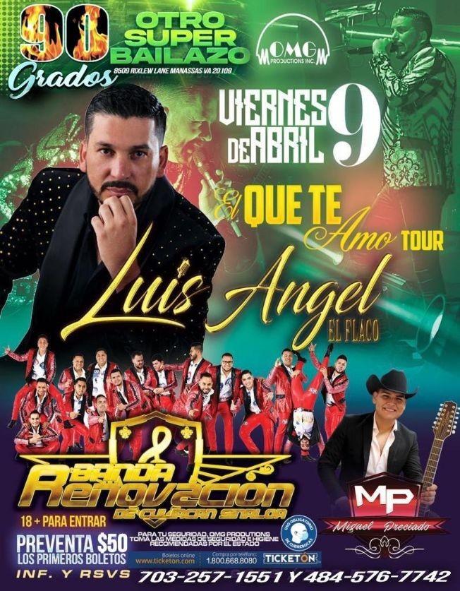 Flyer for Luis Angel El Flaco 'El Que te Amo Tour' en Vivo!