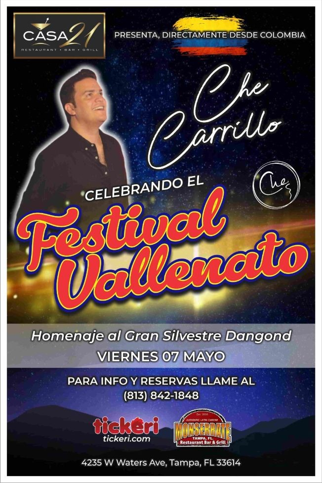Flyer for Che Carillo:  Homenaje a Silvestre Dangond