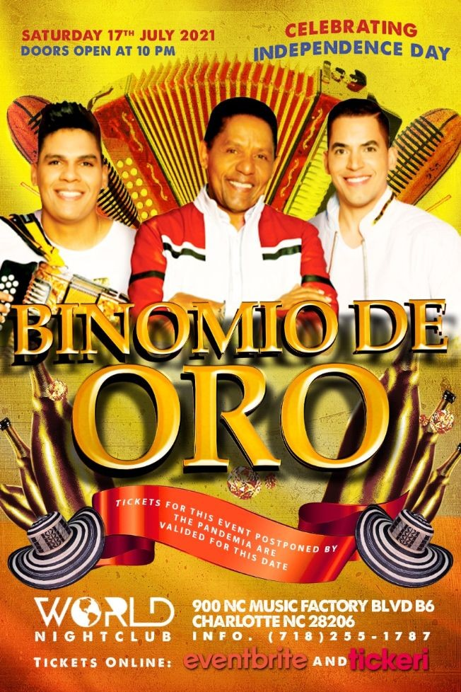 Flyer for EL BINOMIO DE ORO en Concierto, Charlotte NC POSTPONED