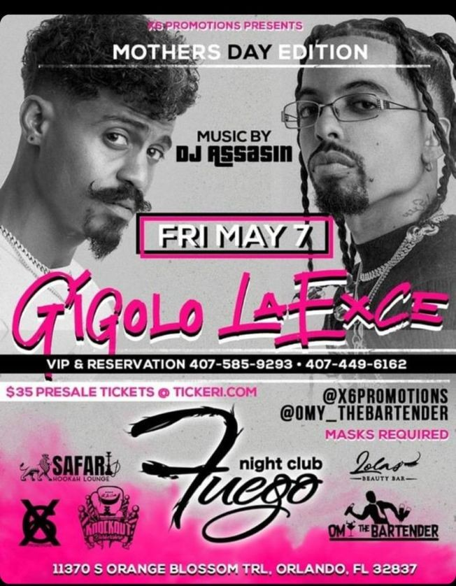 Flyer for Gigolo y LaExce Live!