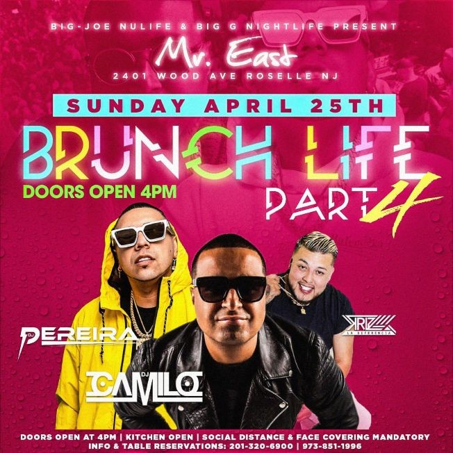 Flyer for Brunch Life Part 4 DJ Camilo Live At Mister East