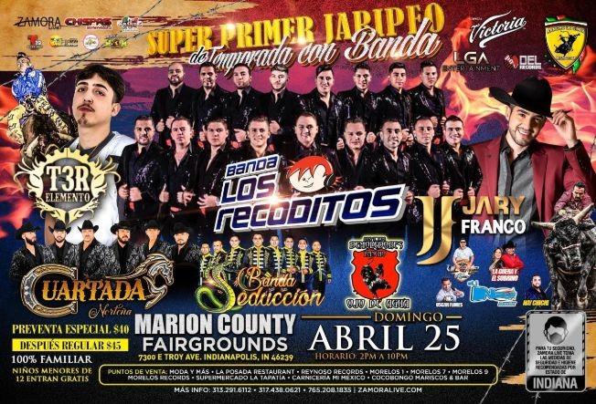 Flyer for Banda Los Recoditos, Cuartada Norteña, Banda Seduccion, Toros Demoledores y mucho mas!