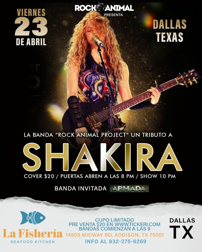 Flyer for Tributo a Shakira - Dallas, Texas