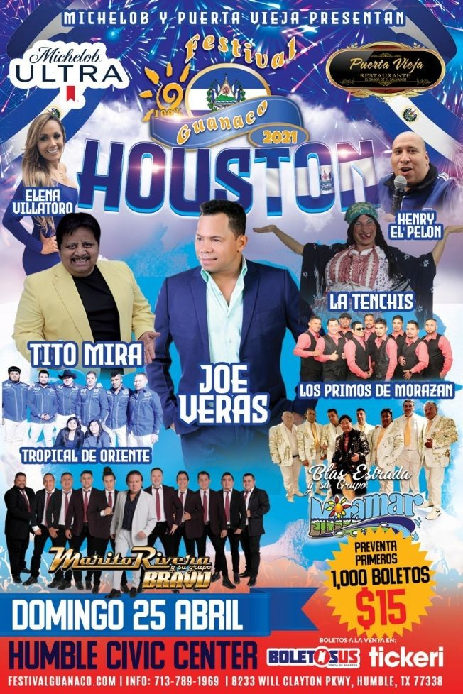 Flyer for Festival Guanaco 2021 en Houston: Joe Veras, Tito Mira, Marito Rivera, Grupo Miramar, Los Primos de Morazan, La Tenchis y mas!
