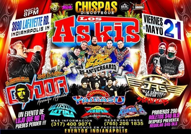 Flyer for Los Askis, Sonido Condor, Grupo Yairasu, JRS Sangre Nueva y mucho mas!