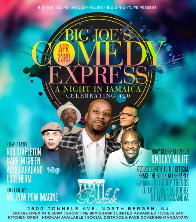 Flyer for Big Joe Comedy Express A Night In Jamaica DJ Bobby Trends Live At Baablek Lounge
