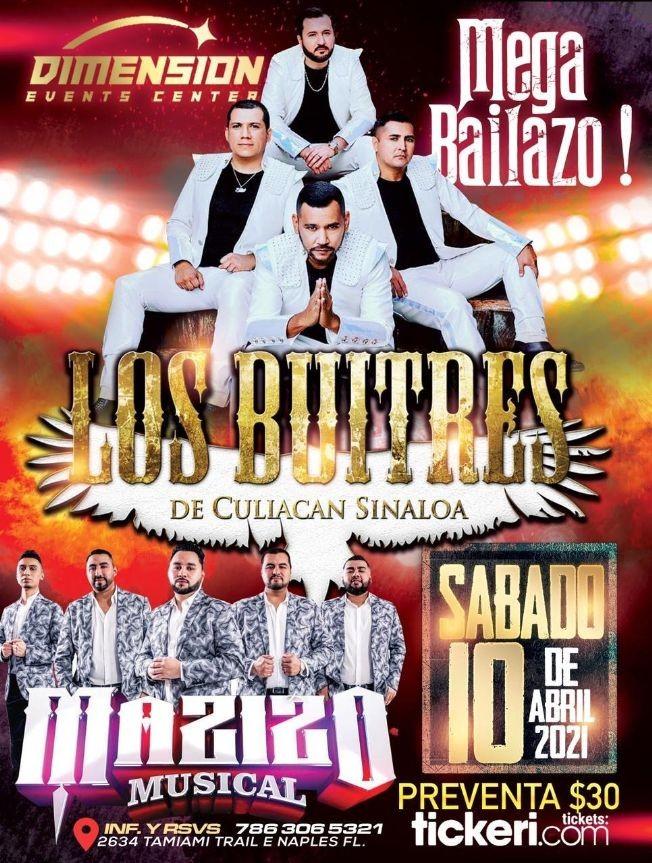 Flyer for Los Buitres de Culiacan Sinoaloa y Mazizo Musical en Vivo!