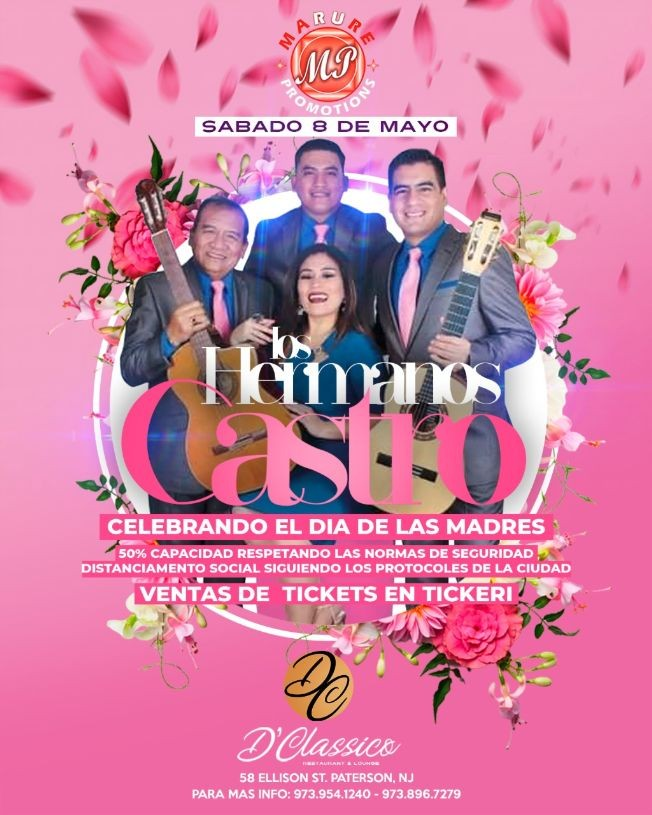 Flyer for LOS HERMANOS CASTRO EN NEW JERSEY